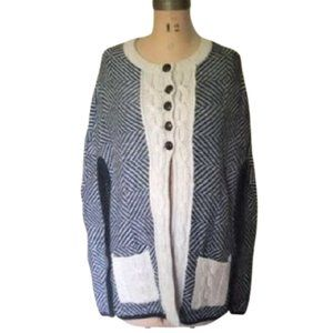 Chevron print long poncho style sweater